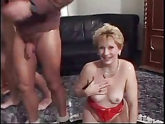 Hot Blonde Granny Banged by Two