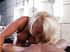 Busty Blonde Cougar Fucking in The Bathroom