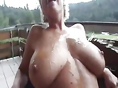 Big Tit Blonde Mature Squirting On The Back Porch