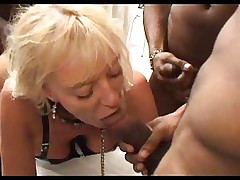 SEXY MOM 53 blonde french mature slave gangbang interracial