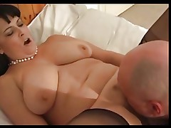 Chubby mature in stockings fucks with bald man