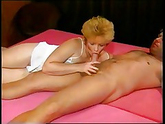 Mature 80s Chick Bounces Up and Down on Lovers Cock