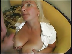 Mature pretty lady with big boobs & young billiards player